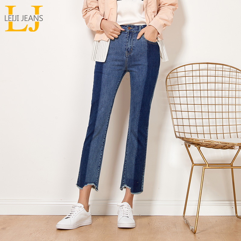 LEIJIJEANS New Autumn High Street Side Panelled Blue Plus Size XL High Waist Denim Ankle Length Slim Straight Jeans Women 7064