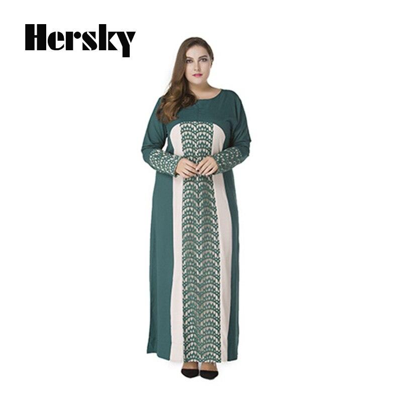 Plus size Middle East Muslim Abaya Clothes Turkey Women Lace Stitching Dress Picture Fashion Female Islamic Abayas Long Dresses