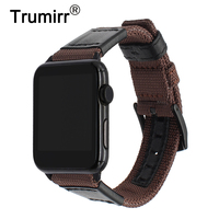 Premium Nylon Genuine Leather Watchband For IWatch Apple Watch 38mm 42mm Series 1 2 3 Band