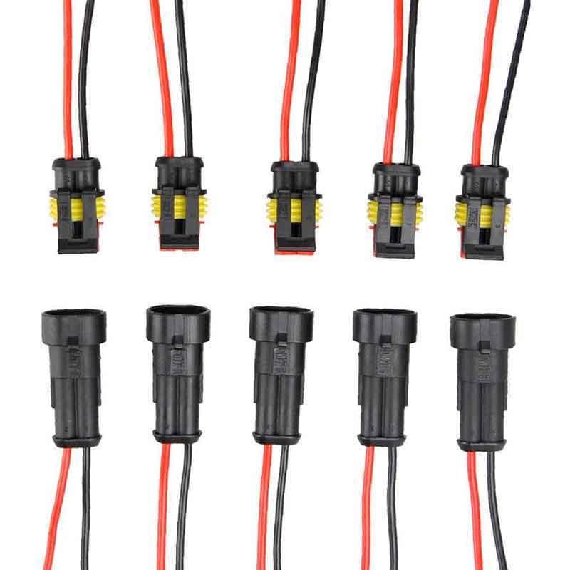 5 paires 2 broches lectrique connecteur tanche m le femelle connecteur lectrique prise avec. Black Bedroom Furniture Sets. Home Design Ideas
