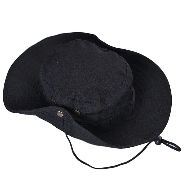 9d585b20bb2 New Flat Hats Summer Black Bucket Hat Boonie Hunting Fishing Outdoor Wide  Cap Brim Military Fishing