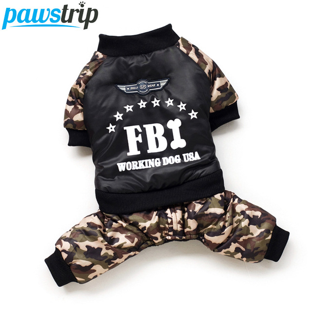 Cool FBI Pet Dog Clothes Overall Thickening Dog Puppy Jumpsuit Costume Warm Winter Clothing For Boy Dogs Ropa Para Perros 1