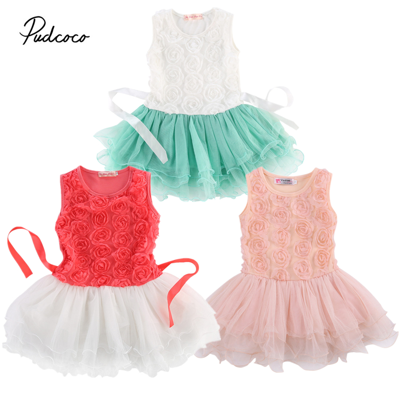 2 7Years Baby Girls Clothing Dress sleeveless o neck Toddlers Lace Rose Flower Princess Pageant Birthday