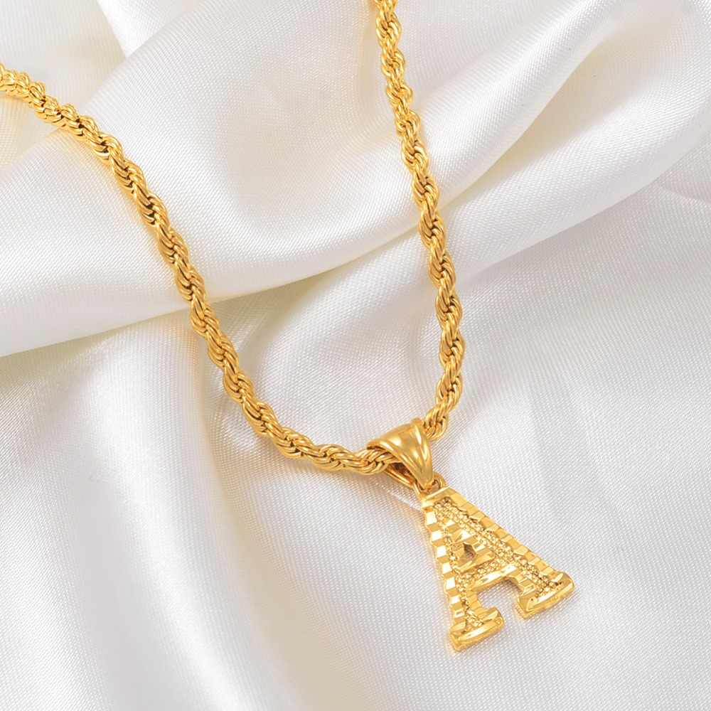 Anniyo litery naszyjniki dla kobiet mężczyzn złoty kolor początkowy wisiorek skręcona lina łańcuch alfabetu angielskiego biżuteria najlepszy prezent #058002P