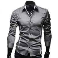 2014 New Brand Autumn Spring Men S Fashion Casual Shirt Solid Color Men S Shirts Hot
