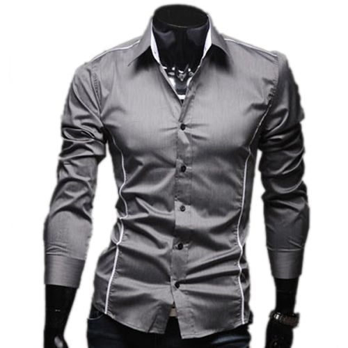 2015 New Brand Hot Plus 3XL Size Fashion Solid Mens Dress Shirts Casual Slim Fit Long-sleeves Social Camisa Masculina for Man