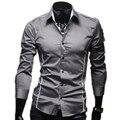 2015 nova marca Plus Size 3XL sólida dos homens Casual Slim Fit longo mangas de Camisa Social Masculina para o homem