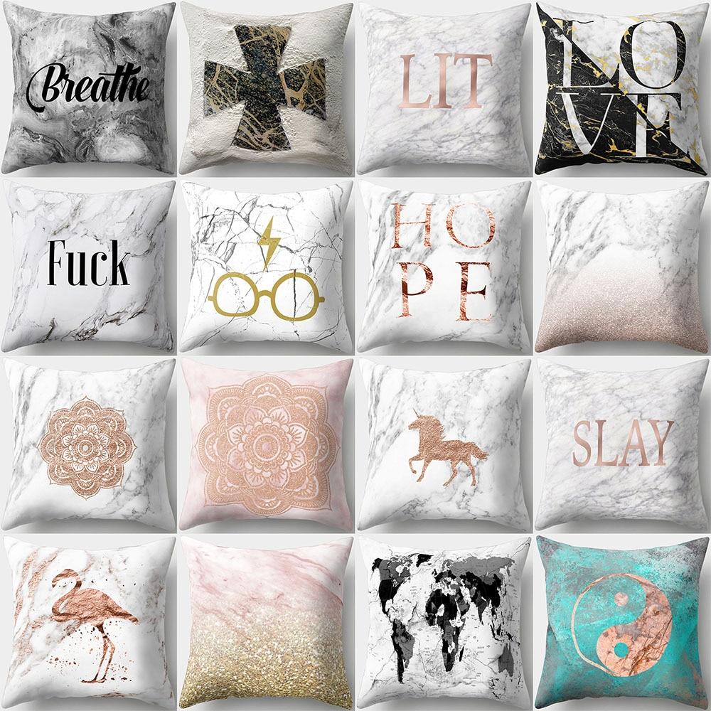 45*45cm Love Letter Pattern Cotton Linen Throw Pillow Cushion Cover Car Home Sofa Decorative Pillowcase funda cojin