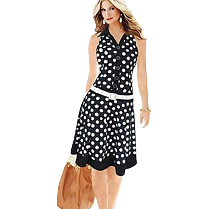 Women's new fashion print dot dress without American ...