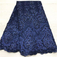African Lace Fabric 2019 High Quality Lace Nigerian Lace Fabric Handmade bead tube embroidery Tulle French Lace Material Women