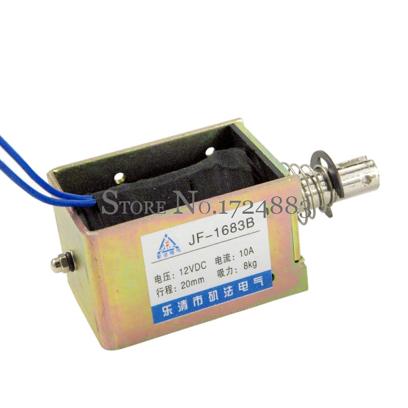 DC12V Pull-Push Type Linear Solenoid Electromagnet Force 80N(8KG) travel 20mm JF-1683B miniature solenoid push pull type inhaled micro electromagnet hot 5pcs dc 5v 6v h028