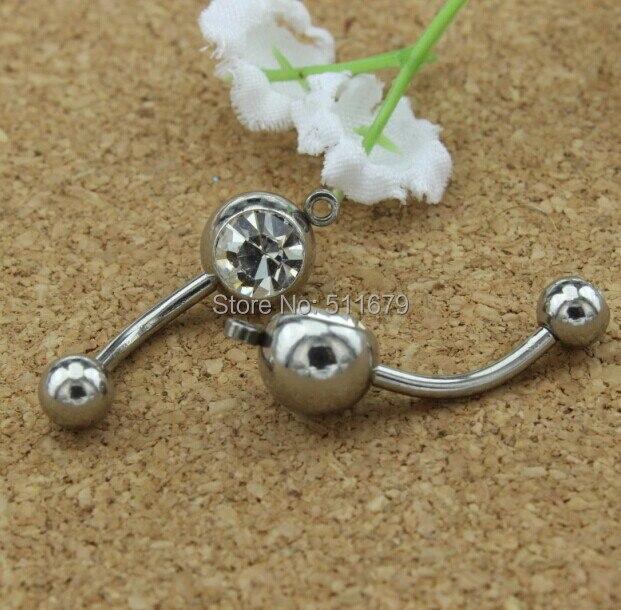 לבן צבעים קריסטל להוסיף קסם טבור טבעות/טבור ברים ברבל גוף פירסינג תכשיטים