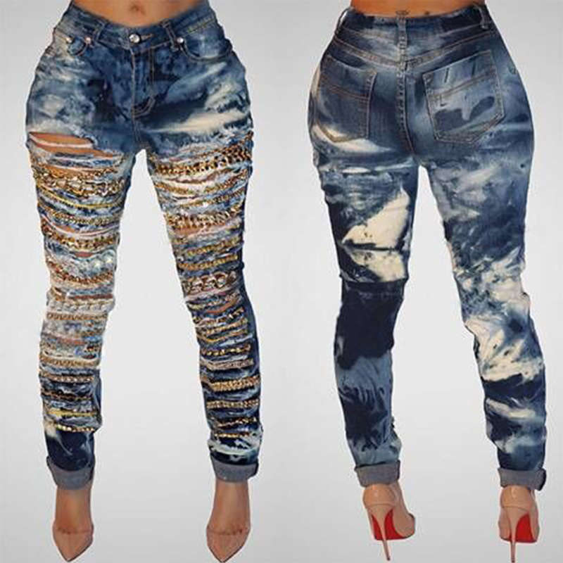QA929 New arrival retro hole chain denim ripped jeans femme fashion cool mid waist plus size