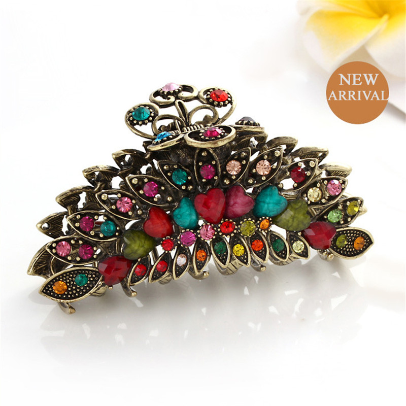 High Quality Vintage Girls Colorful Hair Jewelry Rhinestones Resin Crystal Hair Claws Ancient Gold Big Hair Clip For Women Gift new special design women girls lady elegant crystal rhinestone pearl hair clip clamp hair accessorie duckbill clip