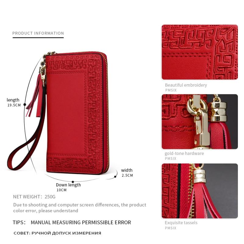 Image 3 - Длинный женский кошелек Pmsix, черный, красный, кожаный, на  молнии, с вышивкой, P420017ladies clutch walletbrand leather  walletleather wallet