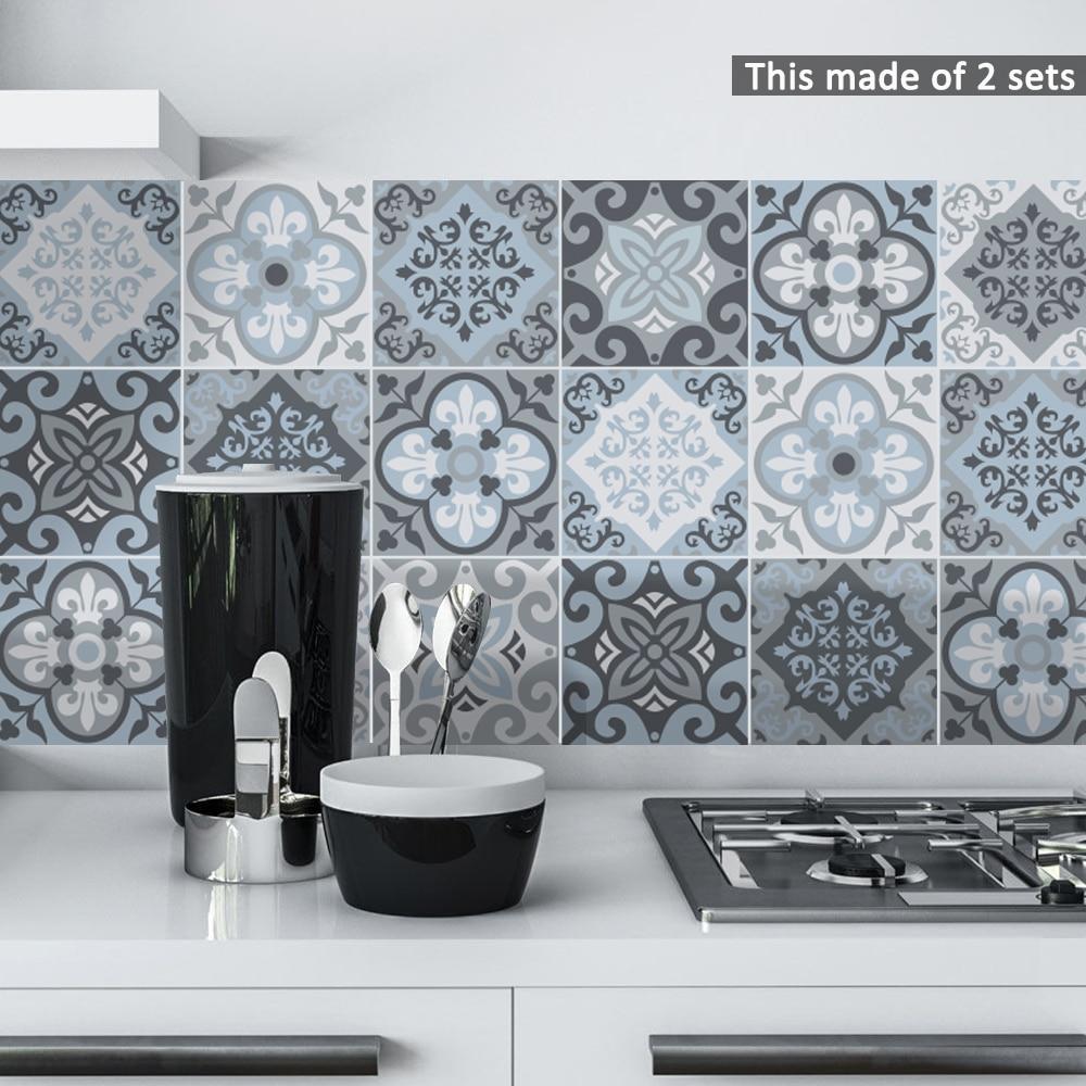 Funlife Self adhesive Waterproof Black marble Mosaic Wall Art ...