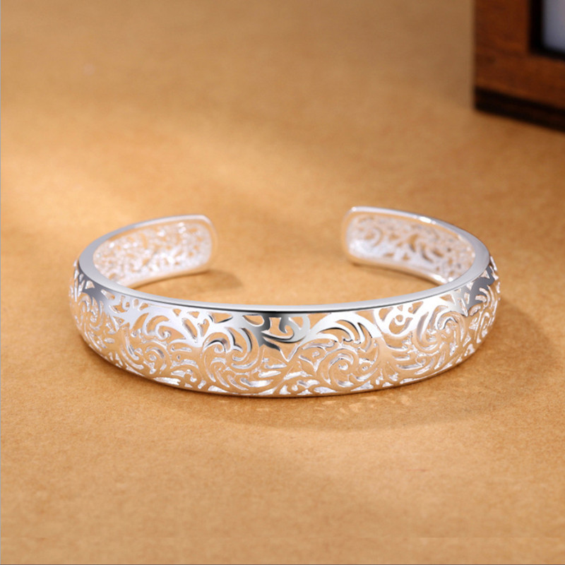 2019 new korean fashion ethinc hollow flowers bangles for women 925 sterling sliver love indian jewelry luxury brand in Bangles from Jewelry Accessories