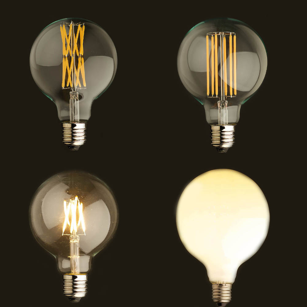 Vintage LED Filament Light Bulb,Edison G125 Style, Golden Tint Milk,Frosted.6W,8W,16W,2200K(Super Warm),110V 220VAC,Dimmable