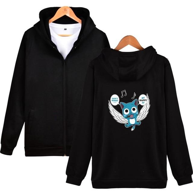 FAIRY TAIL Anime Harajuku Hoodies Men Zipper Cartoon Sweatshirt