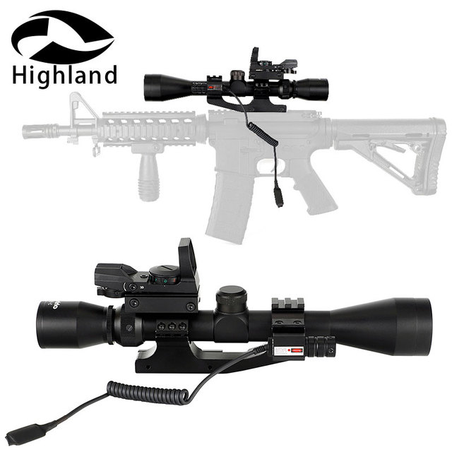 Hunting Riflescope 3-9X40 Wire Reticle Or Mil Dot Optical Rifle Scope with Holographic 4 Reticle Red Dot Red Laser Sight