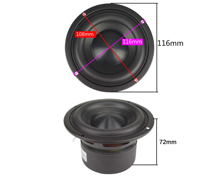 Ceramic Cap 4 inch 116mm Subwoofer Speaker Unit 50W Black Diamond Alumina Cap Woofer LoudSpeaker Desktop Deep Bass NEW 1PCS 6