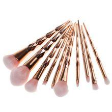 10pcs Pro Diamond Shape Makeup Brush Set Powder Blusher Eyeshadow Eyeliner Eyebrow Lip Rainbow Golden Cosmetic tool Kits