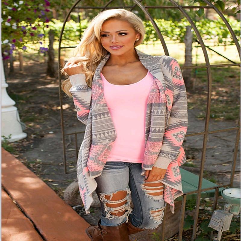 Autumn Women Irregular Knit Print Cardigan Sweater Coats Fashion Casual Slim Women Coats