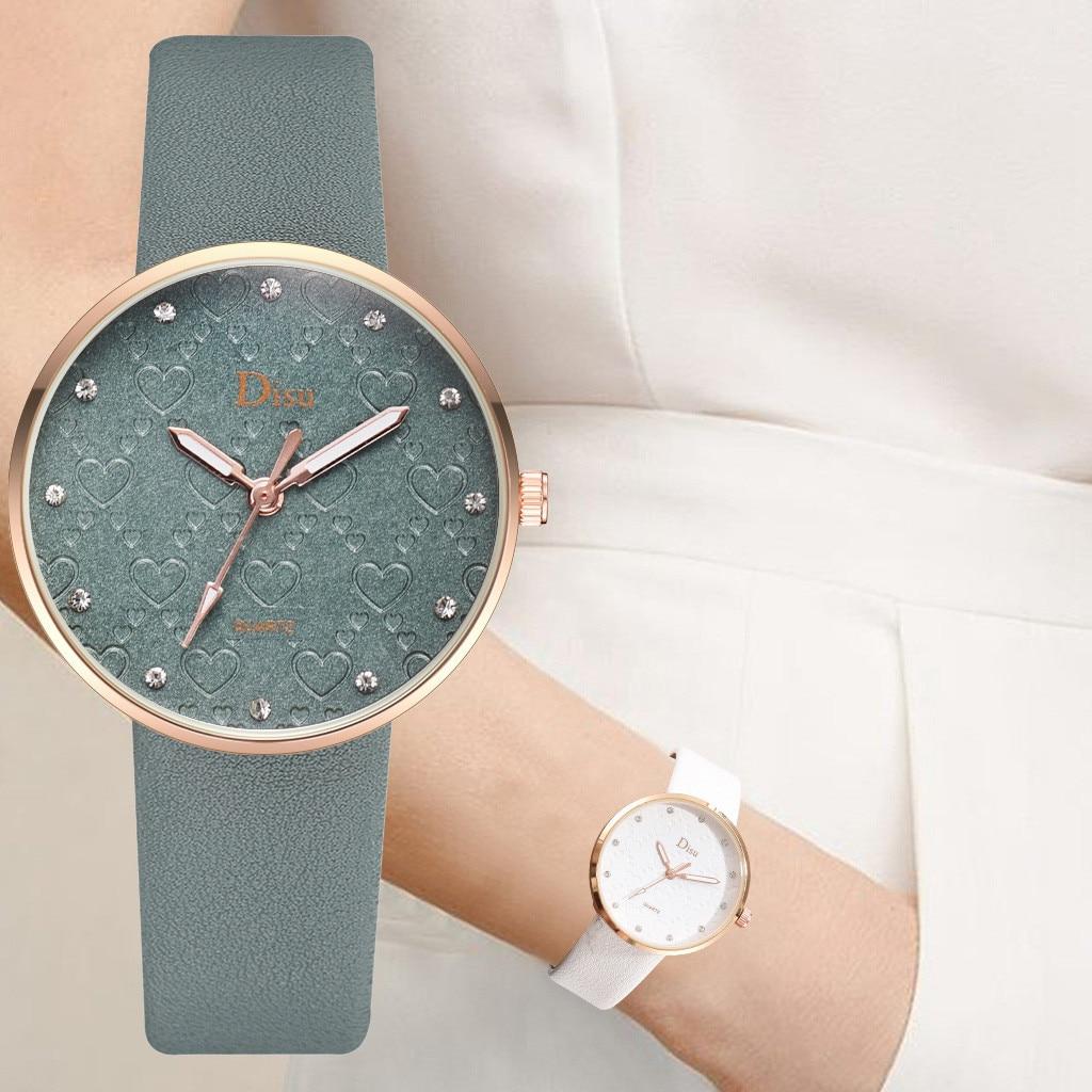Belt Watch Frosted Dial Heart-Shape-Pattern Quartz Fashion Kol Saati Bayan Feminino Relogio