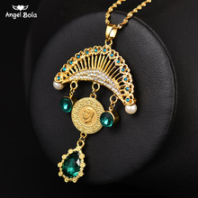 Collar con colgante turco islámico musulmán para mujer, joyas con monedas de cristal, estilo étnico árabe, Oriente Medio