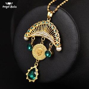 Image 1 - Collar con colgante turco islámico musulmán para mujer, joyas con monedas de cristal, estilo étnico árabe, Oriente Medio