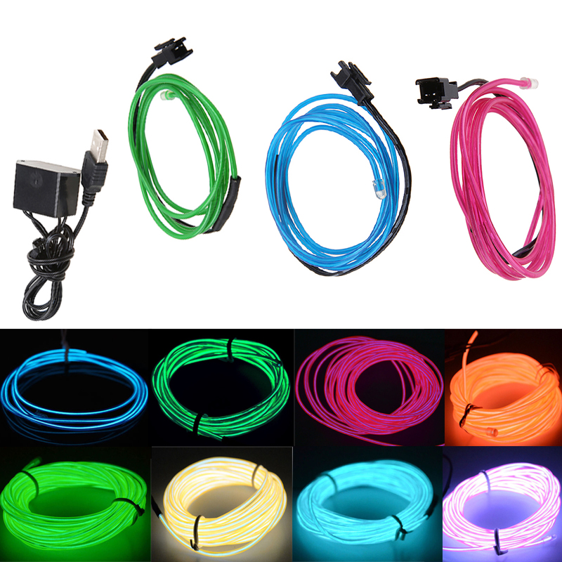 5M Flexible EL Wire Neon Glow Light Rope Tube With USB Controller ...