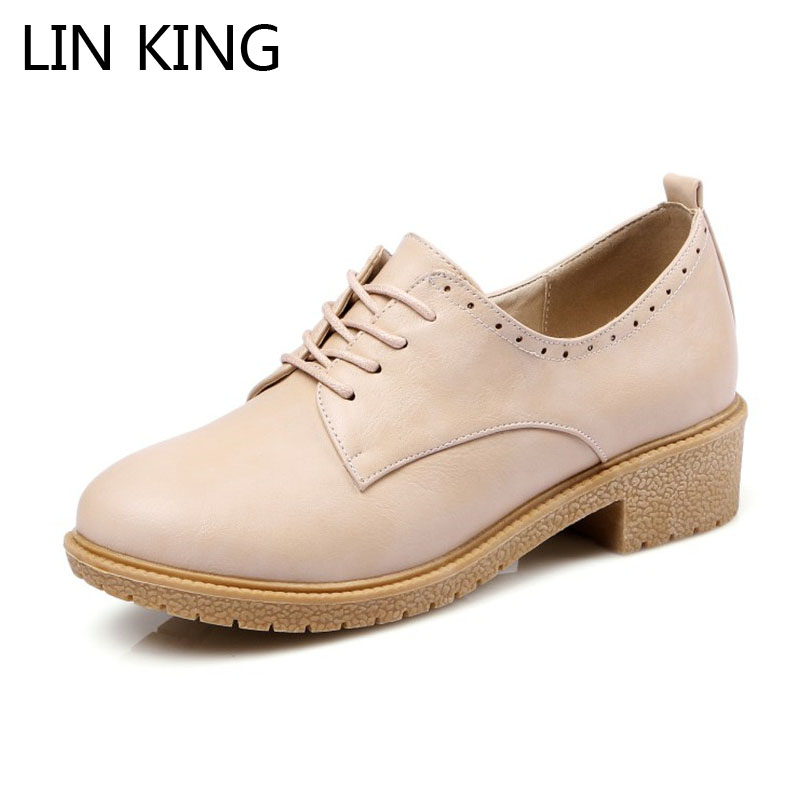 LIN KING New Lace Up Round Toe Women Pumps Comfortable Shallow Month Leather Shoes Sexy Shallow Mouth Brogue Solid Ladies Shoes lin king fashion pearl pointed toe women flats shoes new arrive flock casual ladies shoes comfortable shallow mouth single shoes