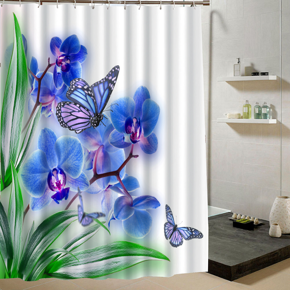 The Blue Beautiful Flower Have Green Leaves Fabric Shower Curtain Machine Washable Plant Pattern For Home Bathroom Curtain