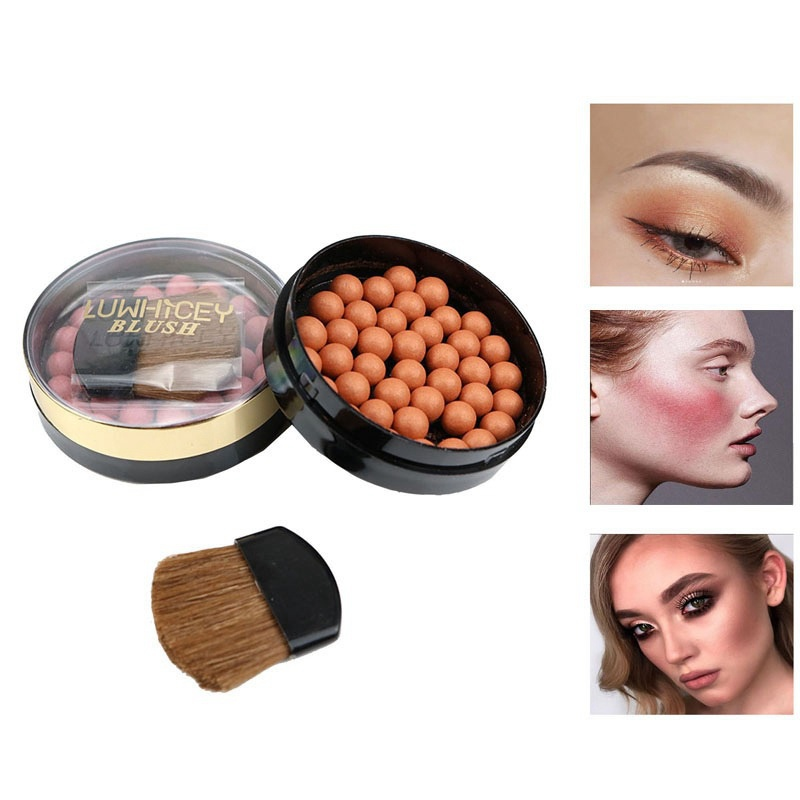 Cute Fashion Matte Blusher Ball <font><b>3</b></font> In 1 Blush Face Contour Cosmetics Powder Balls 8 Colors Optional Easy To Smear image