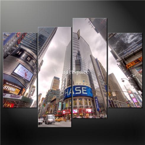 4 Piece Wall Art Painting Pictures Print Canvas Times Square New York City Cascade Picture Oil Home Modern Decoration - Youartspace store