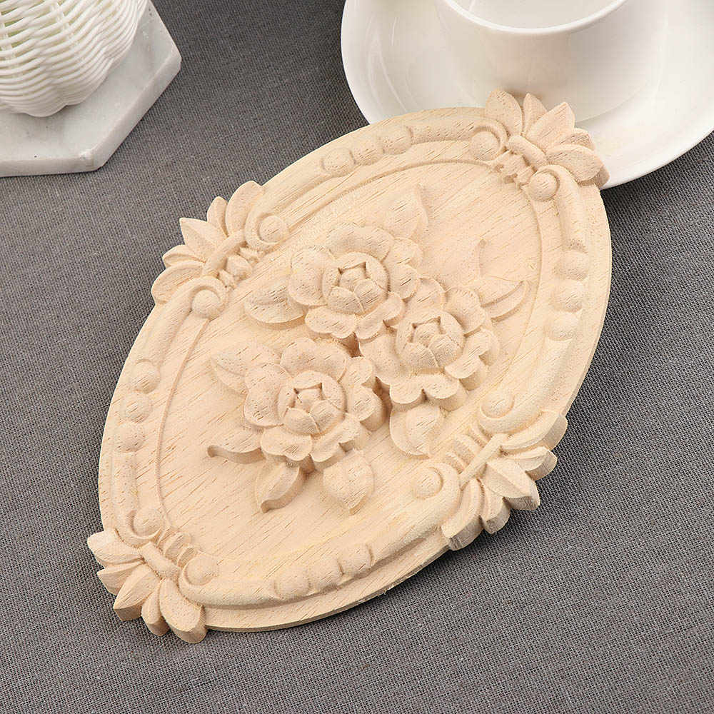 1pc Floral Wood Carved Corner Applique Wooden Carving Decal For Furniture Cabinet Door Frame Wall Home Decor Crafts