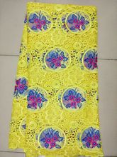цена на 5 Yards/pc Hot sale fuchsia water soluble lace fabric african guipure lace and net lace blue flower pattern for clothes BW105-1