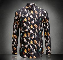 Europe and the US males's new autumn 2016 Digital printing domesticate birds cotton shirt
