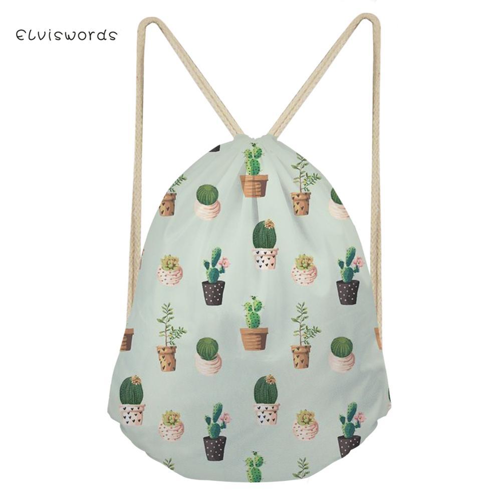ELVISWORDS Small Women Drawstring Backpack Cactus Printed Travel Female Bag School Girls boys Satchel Casual Shopping
