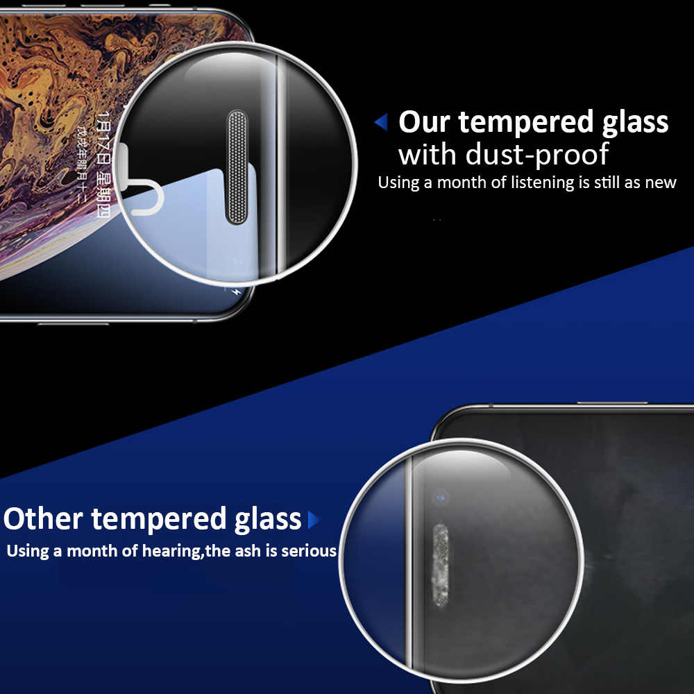9H מלא כיסוי מזג זכוכית עבור iphone X XS MAX XR מסך מגן iphone 6 6S 7 8 בתוספת Dustproof מתכת mesh מגן סרט