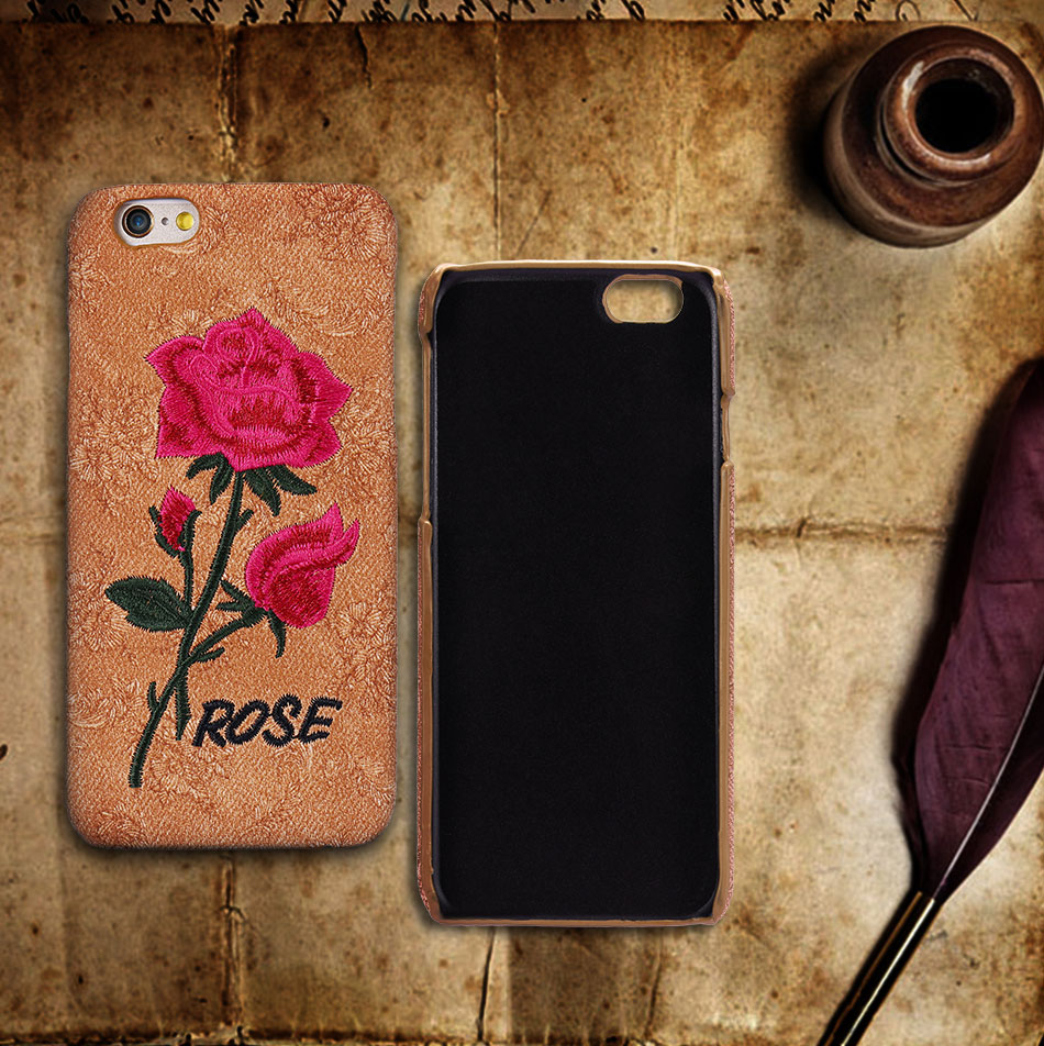 KISSCASE Beautiful Rose Flower Cover For Apple iPhone 6 6S Plus 7 7 Plus Case Fundas Coque Embroidery Pattern For iPhone 6 7 6S (1)