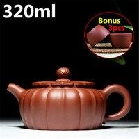 Handmade Clay Yixing Teapot 320ml Purple Sand Pots Chinese Tea Set Kung Fu Tea Pots Kettle Bonus 3 Cups Gift Box Home Drinkware