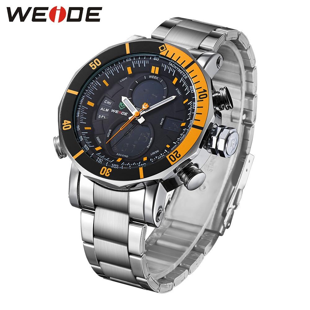 WEIDE quartz sports wrist watch casual genuine watch stainless steel digital led bracelets 21 men watches luxury fashion casual weide wh1101 stainless steel digital analog quartz led wrist watch for men 1 x sr626