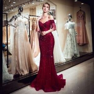 Image 3 - גבוהה באיכות חרוזים ערב שמלות ארוך 2019 בת ים כבוי כתף ערב שמלות חיג אב נשף שמלת טול פורמליות שמלת Vestido