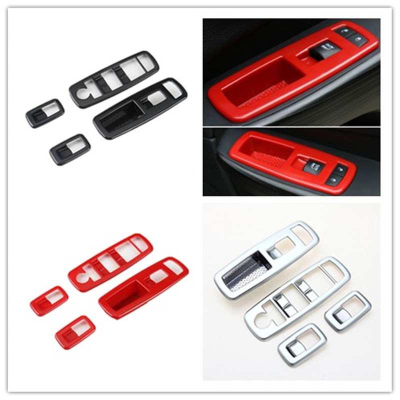 Window Lifter Switch Buttons Decoration Frame Cover Trim Interior Molding Sticker ABS for Jeep Grand Cherokee 4 Doors Car New car abs chrome interior inside inner door window glass switch panel cover trim frame molding 4pcs for vw tiguan l mk2 2016 2018