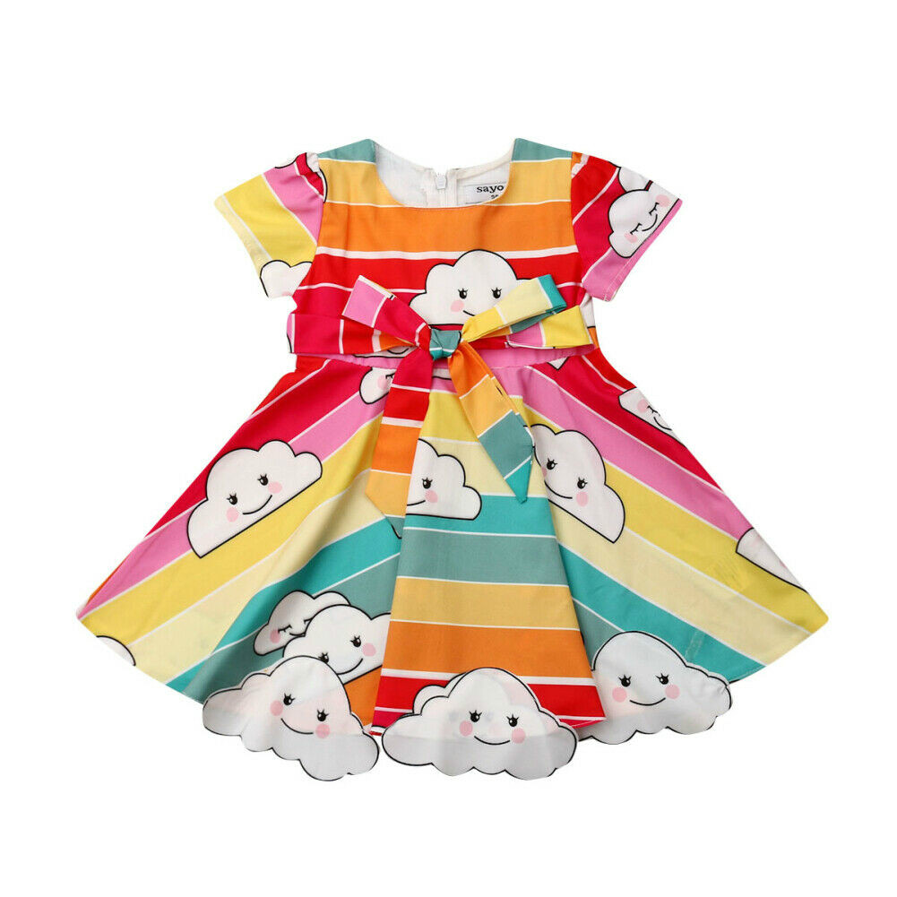 <font><b>Princess</b></font> <font><b>Toddler</b></font> Kids Baby Girl Rainbow Print Bow Formal Pageant Party Dress Clothes image