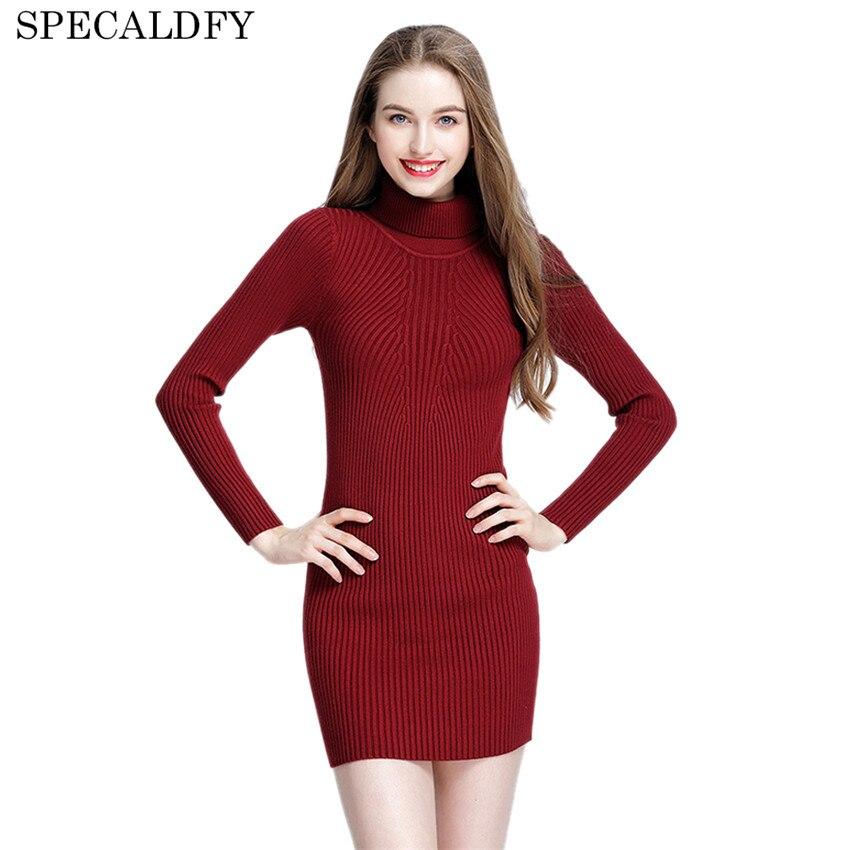 2018 Winter Autumn Long Knitted Dress Women Sexy Turtleneck Sweater Dress Elastic Skinny Slim Bodycon Dress Brief Vestidos Mujer