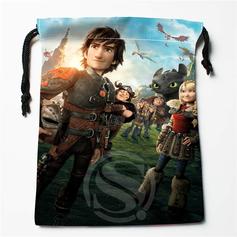 T&w165 New How To Train Your Dragon 01 Custom Printed  Receive Bag Compression Type Drawstring Bags Size 18X22cm F725&165wc