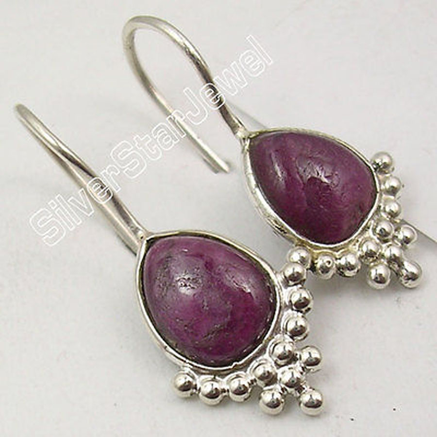 DEAL OF THE DAY ! Solid Silver <font><b>rubi</b></font> <font><b>ZOISITE</b></font> BEAUTIFUL Earrings 1 1/8 inches