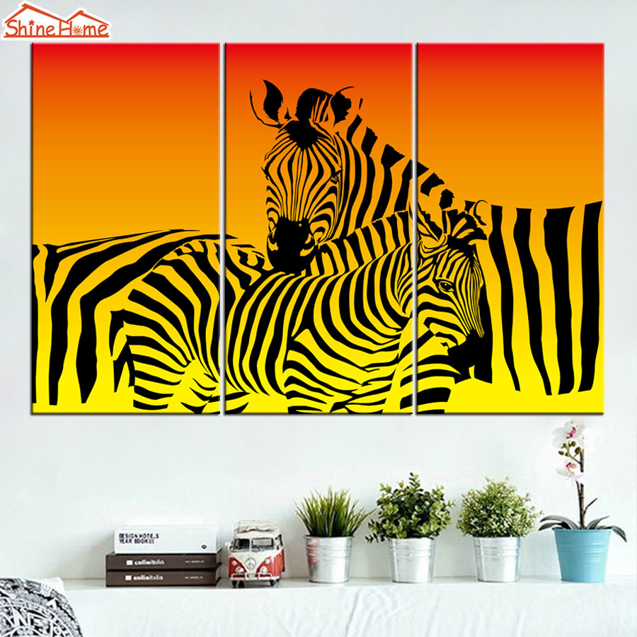 ShineHome 3pcs Wall Art Canvas Print Abstract Zebra Oil Painting ...